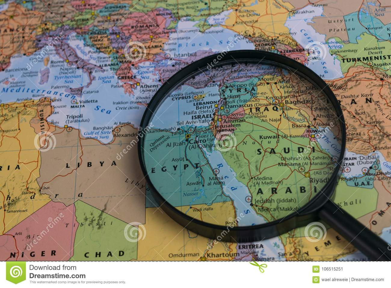 Picture of: Map Of Middle East Through Magnifying Glass On A World Map Stock Image Image Of Geography Search 106515251