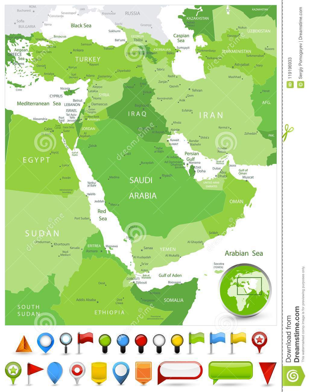 Tehran Middle East Map.Middle East Map Spot Green Colors And Glossy Icons Stock Vector