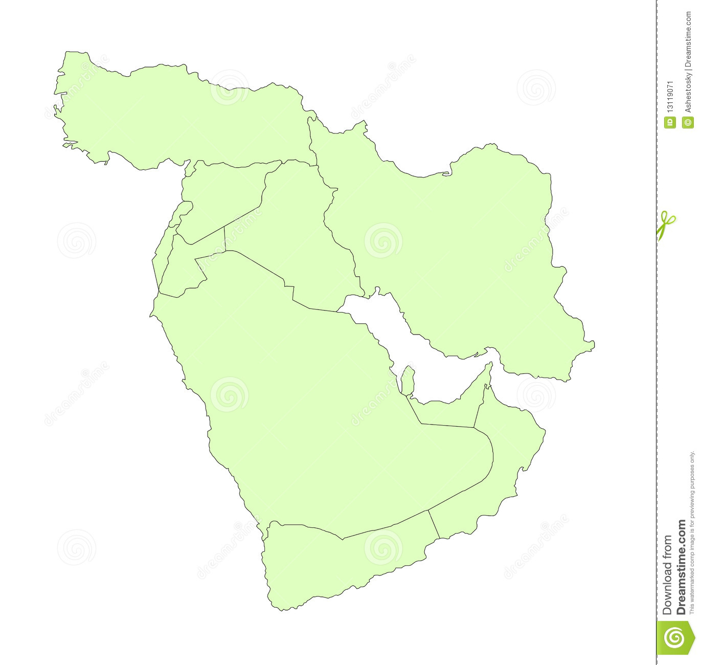 Middle East Outline Map Stock Image Image - Middle east outline map