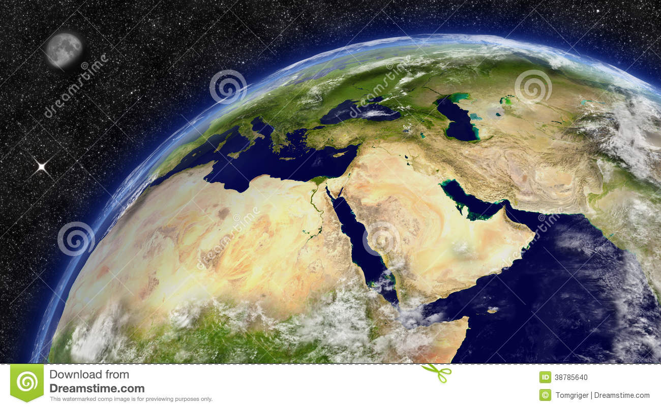Middle East On Planet Earth Stock Illustration Image - Middle east satellite map