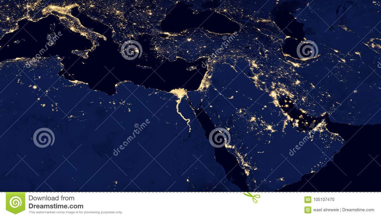 Middle East, West Asia, East Europe Lights During Night As It Looks ...