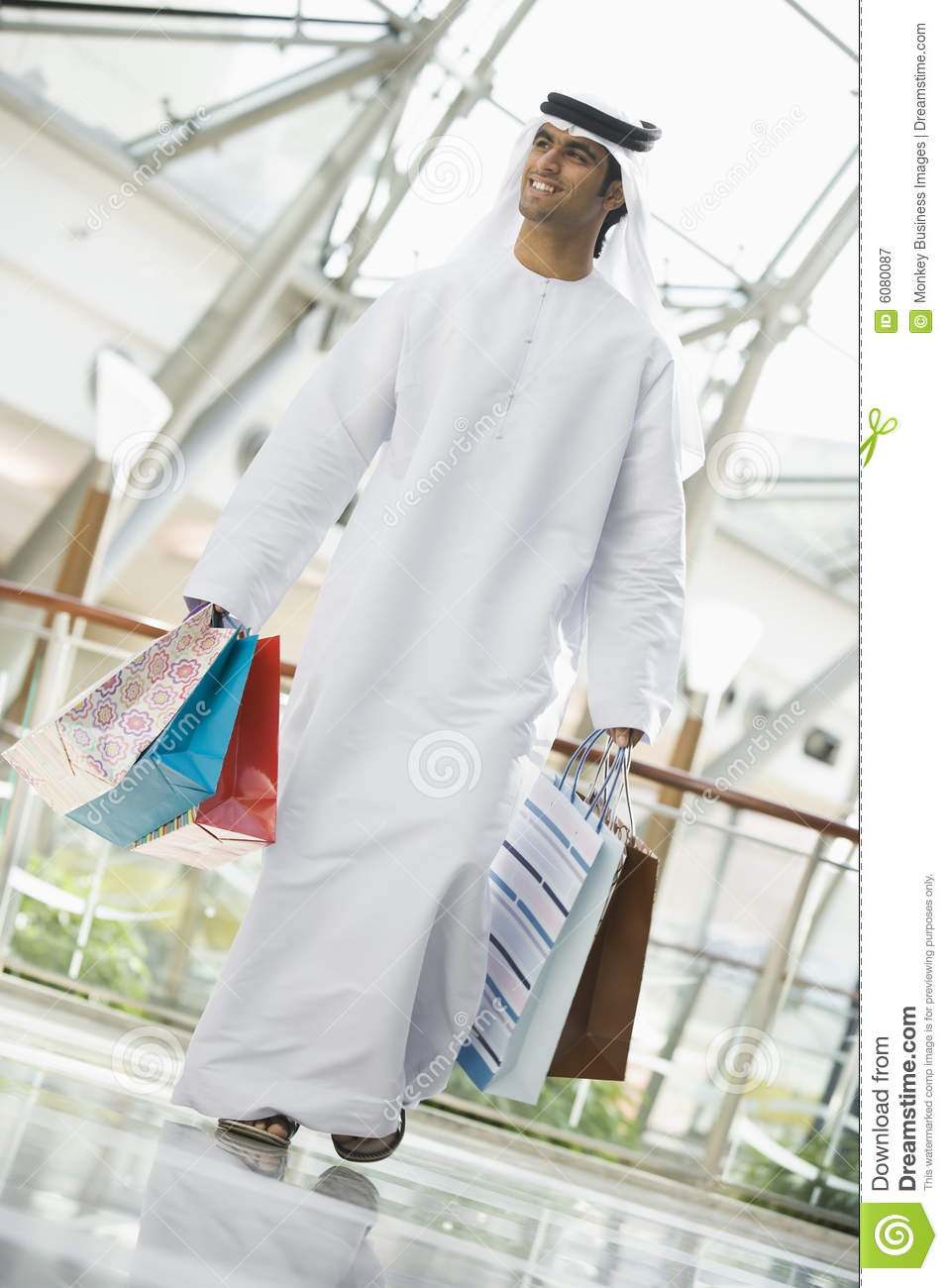 A Middle Eastern man in a shopping mall