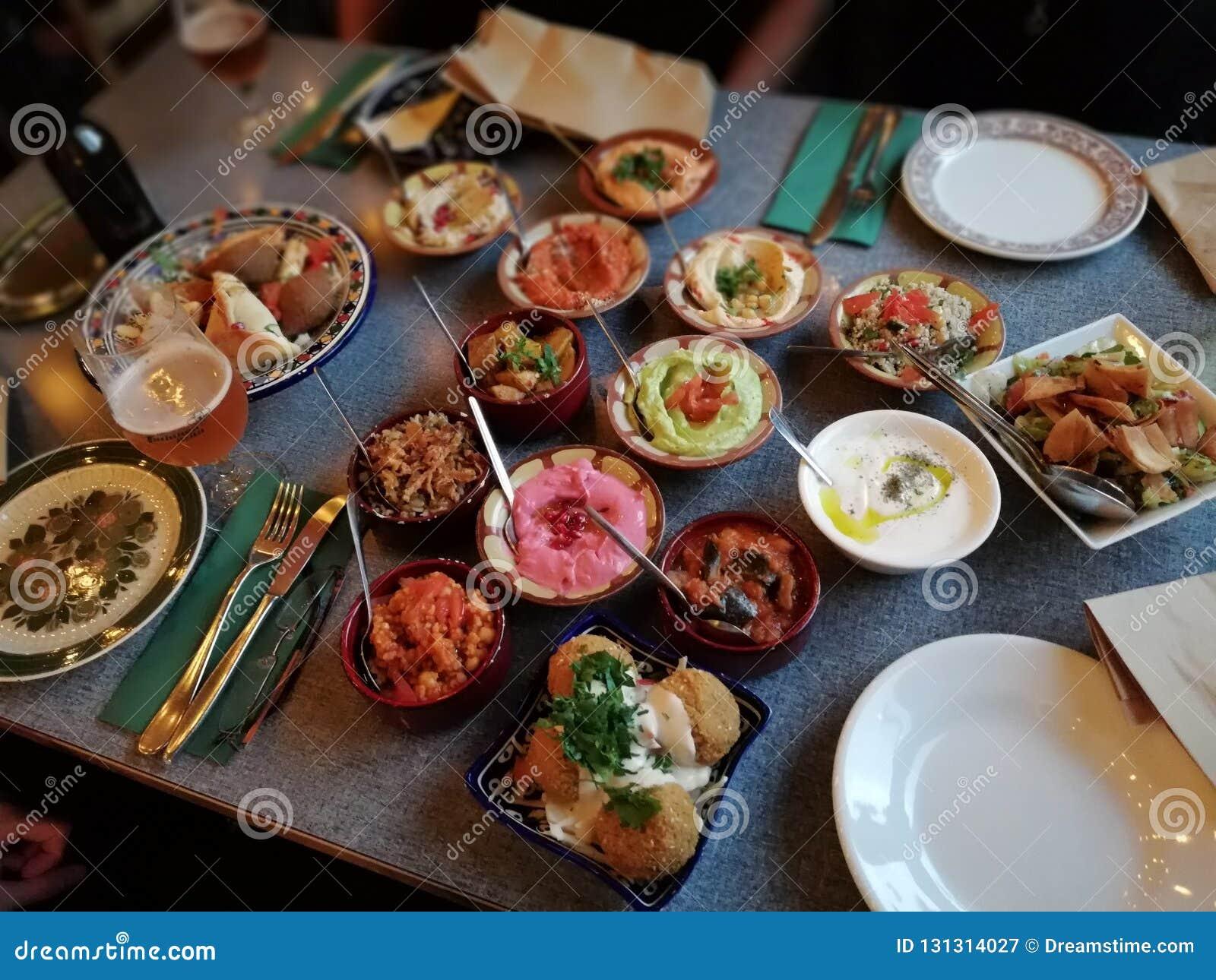 Middle eastern mezze dinner