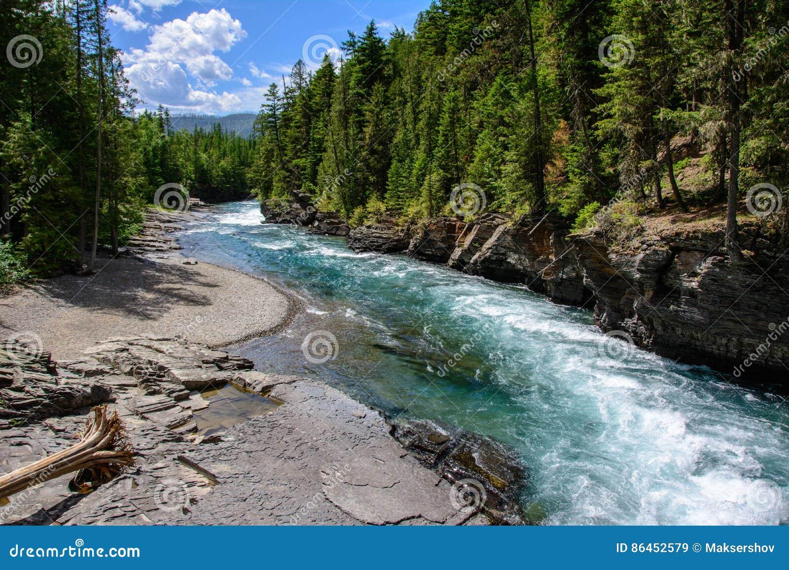 Middle Fork Flathead River In Glacier National Park, Montana US