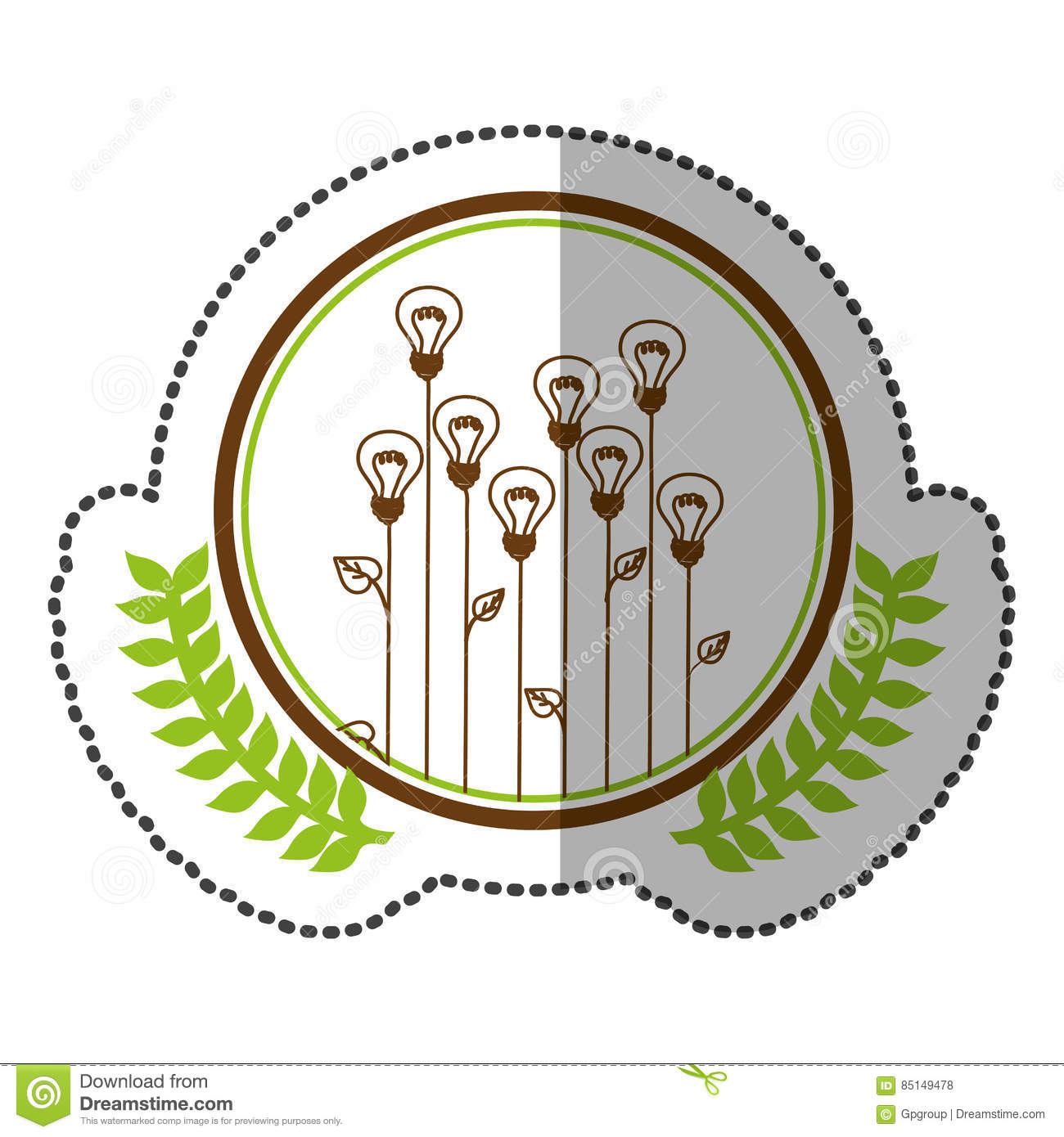 Middle shadow sticker colorful with olive crown with lightbulb in middle shadow sticker colorful with olive crown with lightbulb in shape flower in circle izmirmasajfo