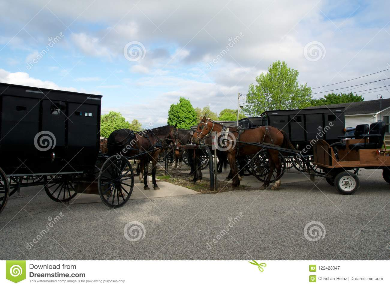 MIDDLEBURY, INDIANA, UNITED STATES - MAY 22nd, 2018: View of amish carriage along the city, known for simple living with