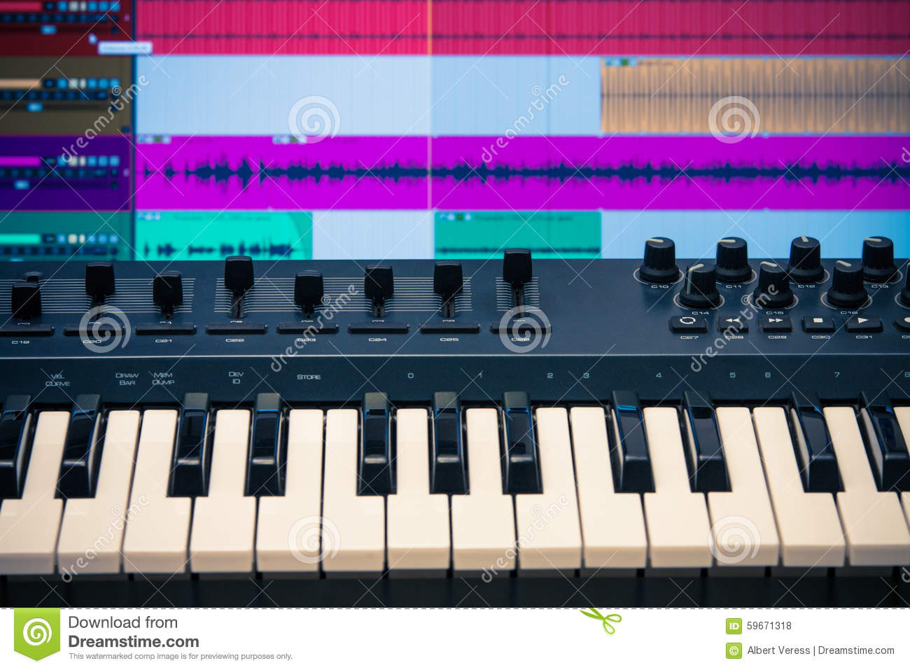 Midi Keyboard With Daw 2 Stock Photo Image 59671318