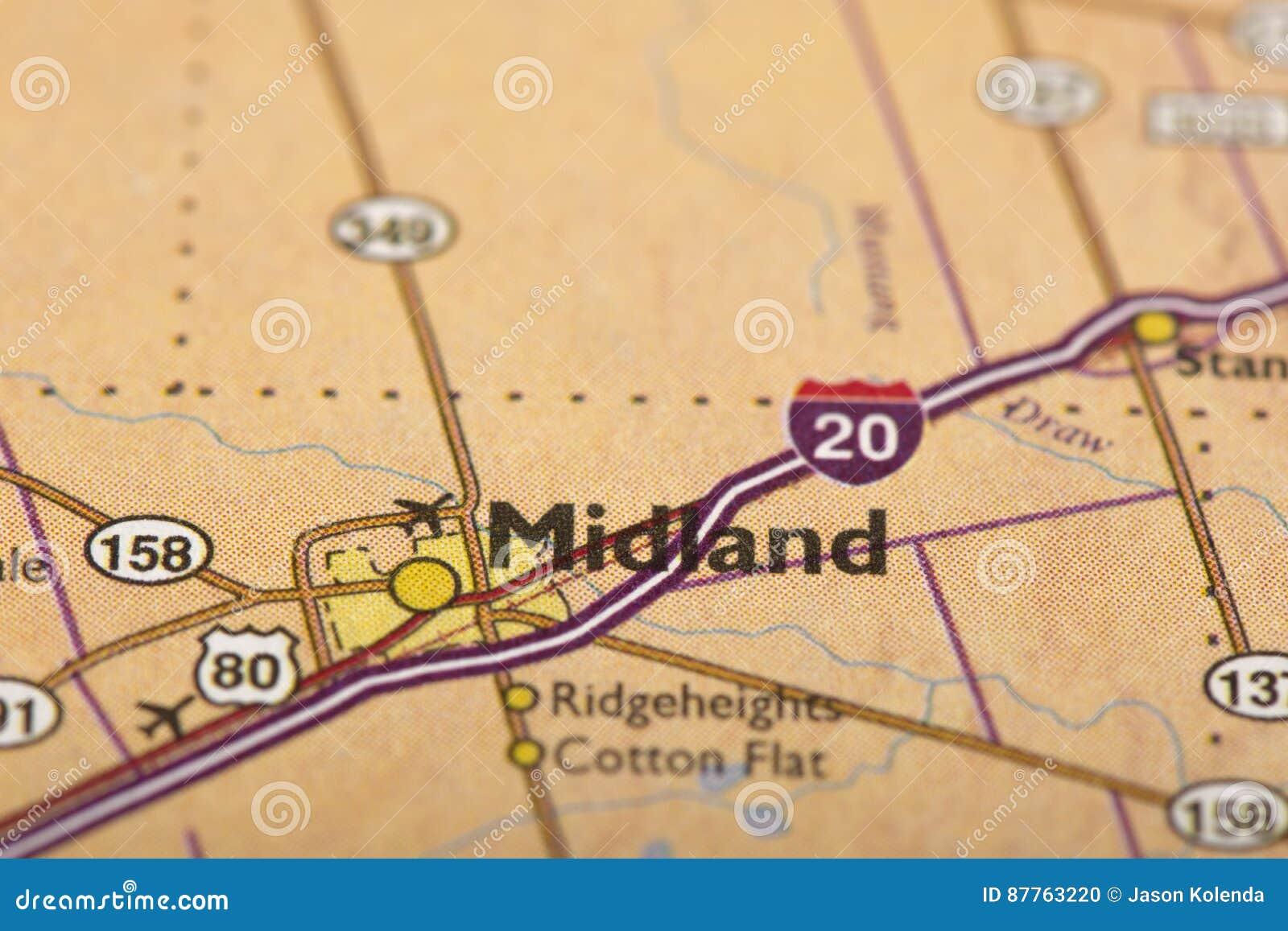 Midland, Τέξας στο χάρτη