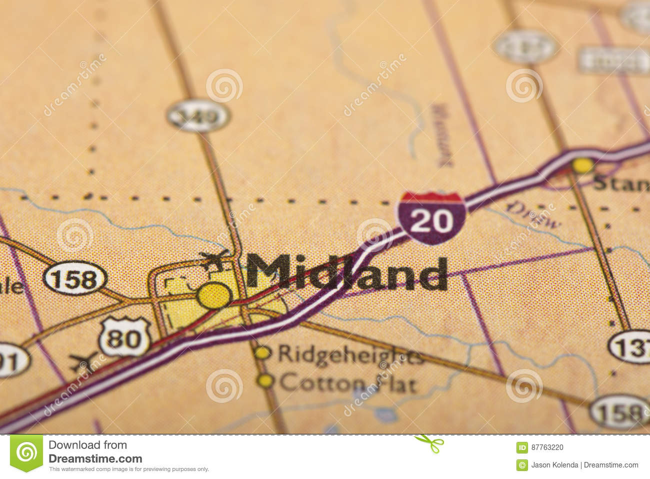 Midland, Texas on map stock photo. Image of fashioned - 87763220