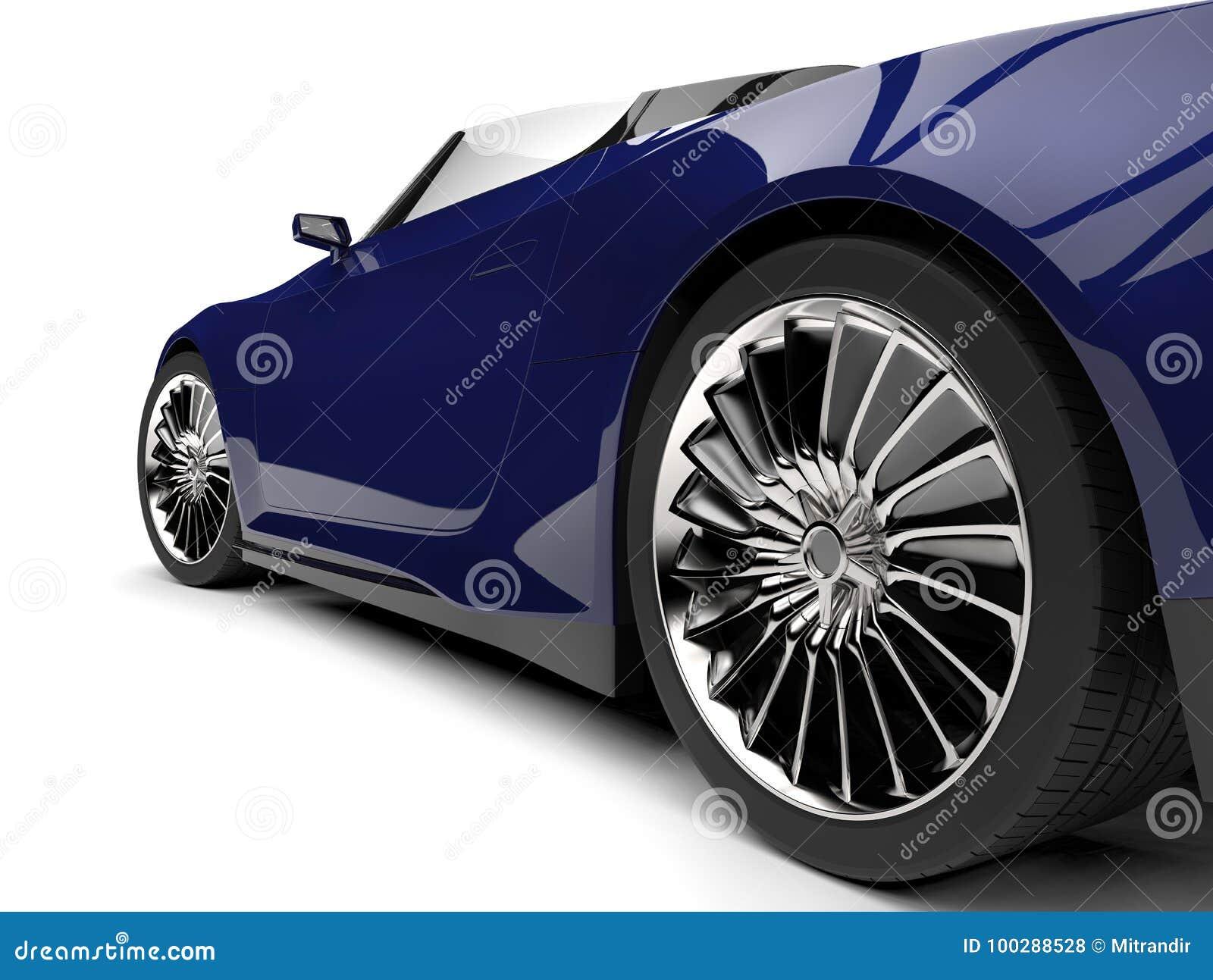 Midnight Blue Modern Cabriolet Sports Car Rear Wheel Closeup Shot Stock Illustration Illustration Of Luxury Road 100288528