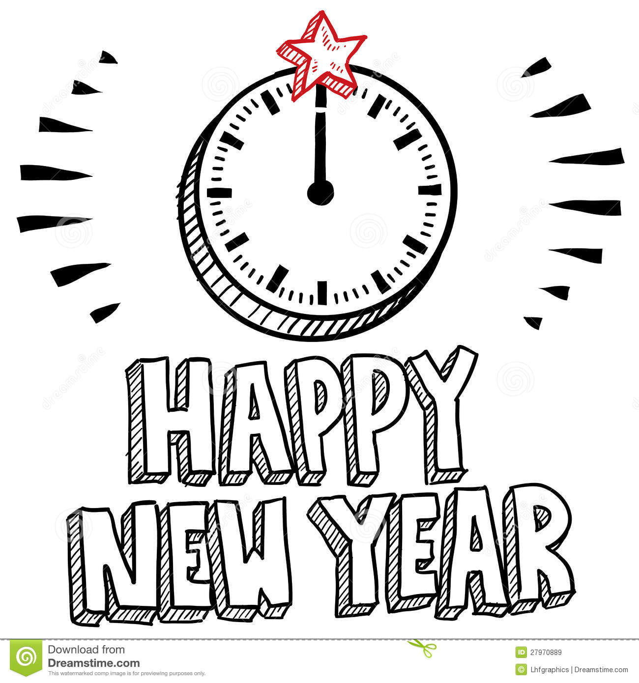 Midnight Clock New Yearu0026#39;s Eve Sketch Stock Vector - Illustration Of Holiday Doodle 27970889