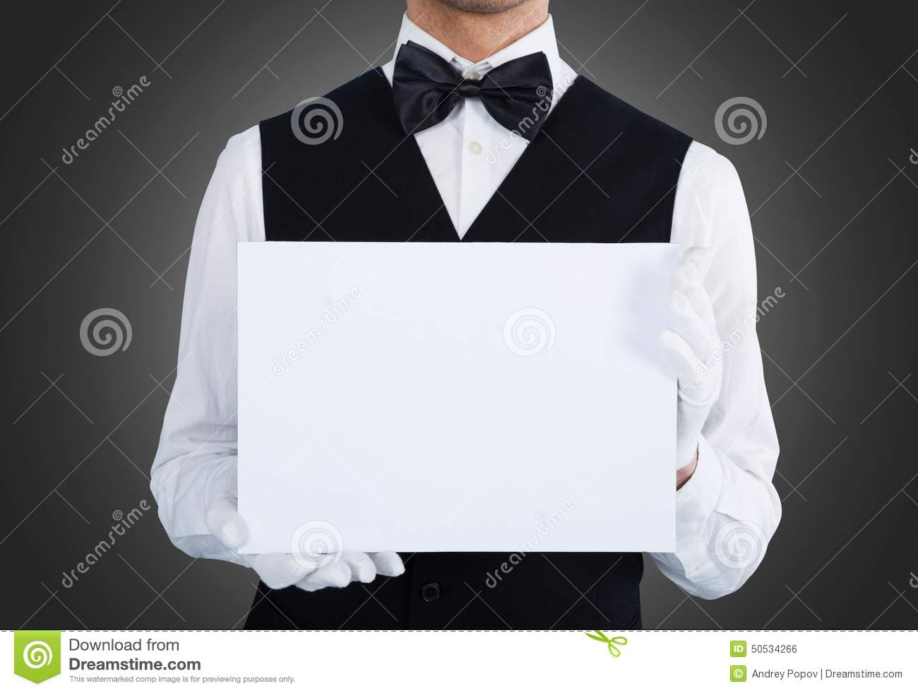 Waiter Holding Empty Silver Platter Ready For Product Or ...
