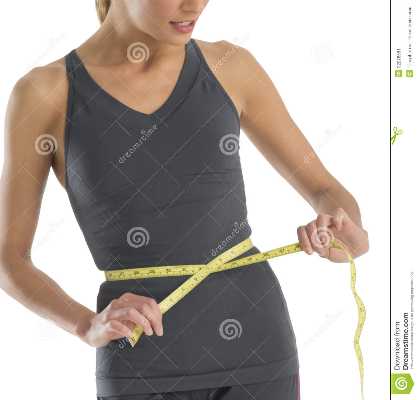 Midsection Young Woman Measuring Her Waistline Stock Image ...