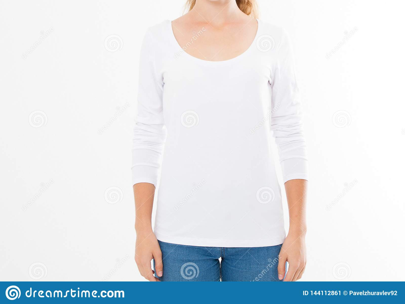 Midsection Of Young Woman Wearing Blank Tshirt On White