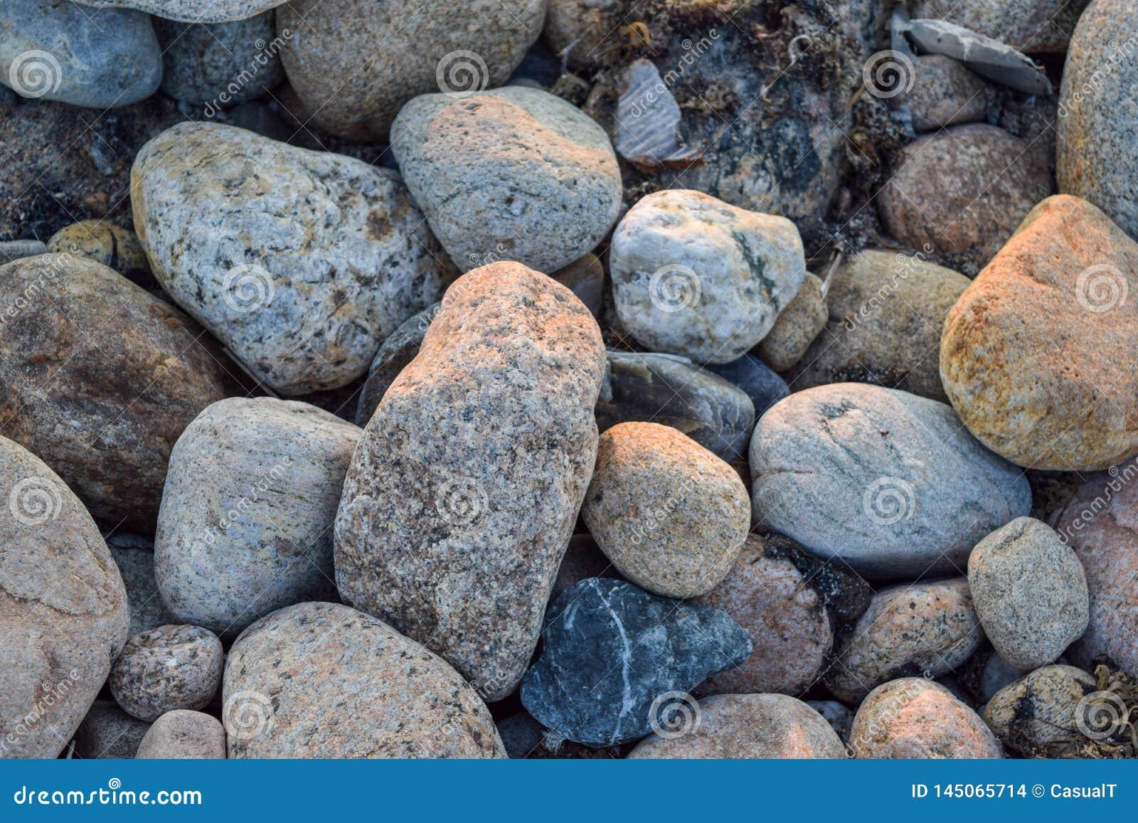 Midsized skały, kamienie i otoczaki w, różnorodnych kolorach i kształtach