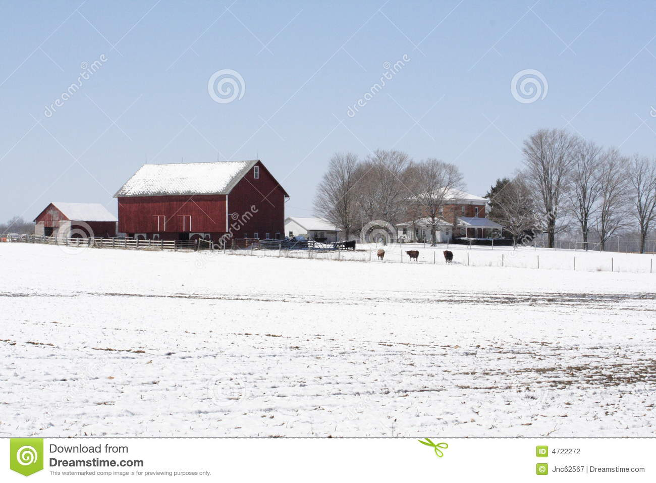 Midwest Farm In Winter Stock Photo Image Of Rural