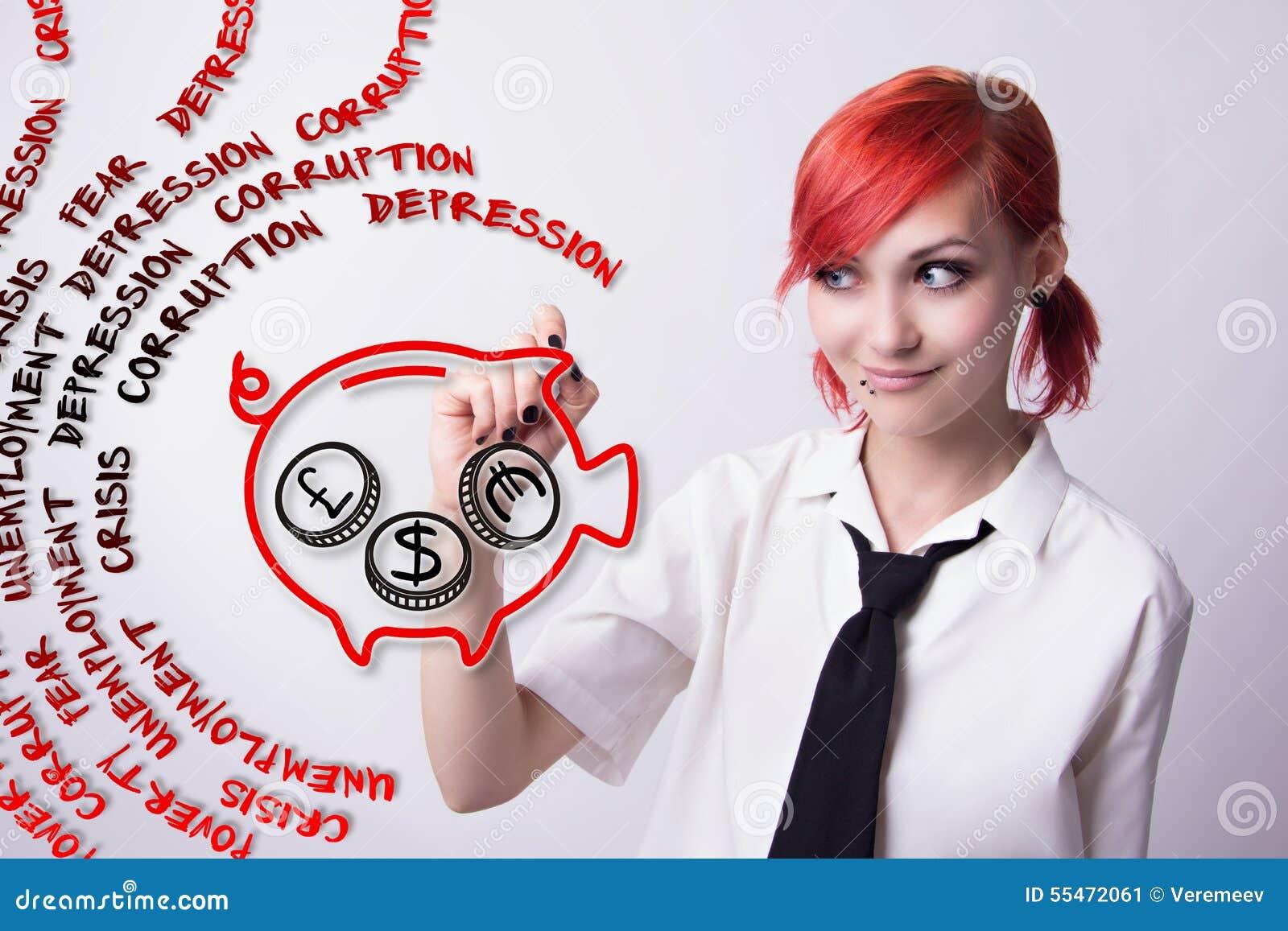 Miedzianowłosa dziewczyna maluje świniowatego prosiątko banka