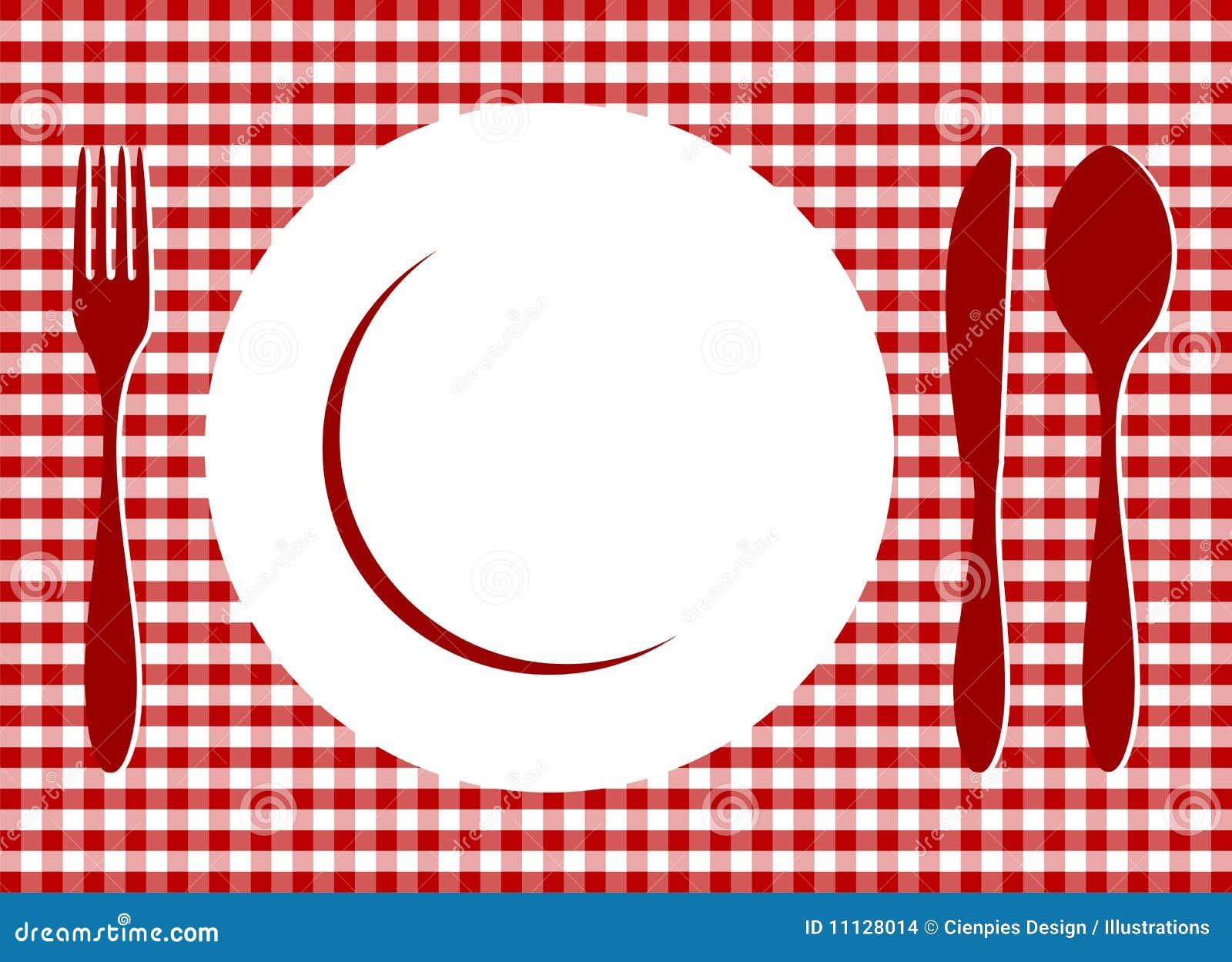 Miejsca czerwony położenia tablecloth