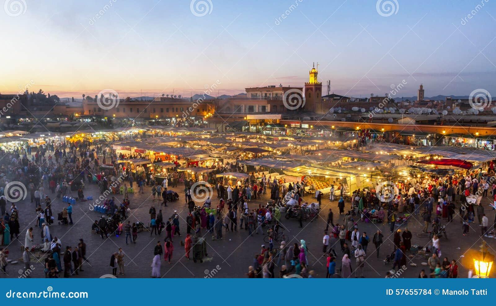 Miejsce Jemaa El Fna, Marrakech, Maroko