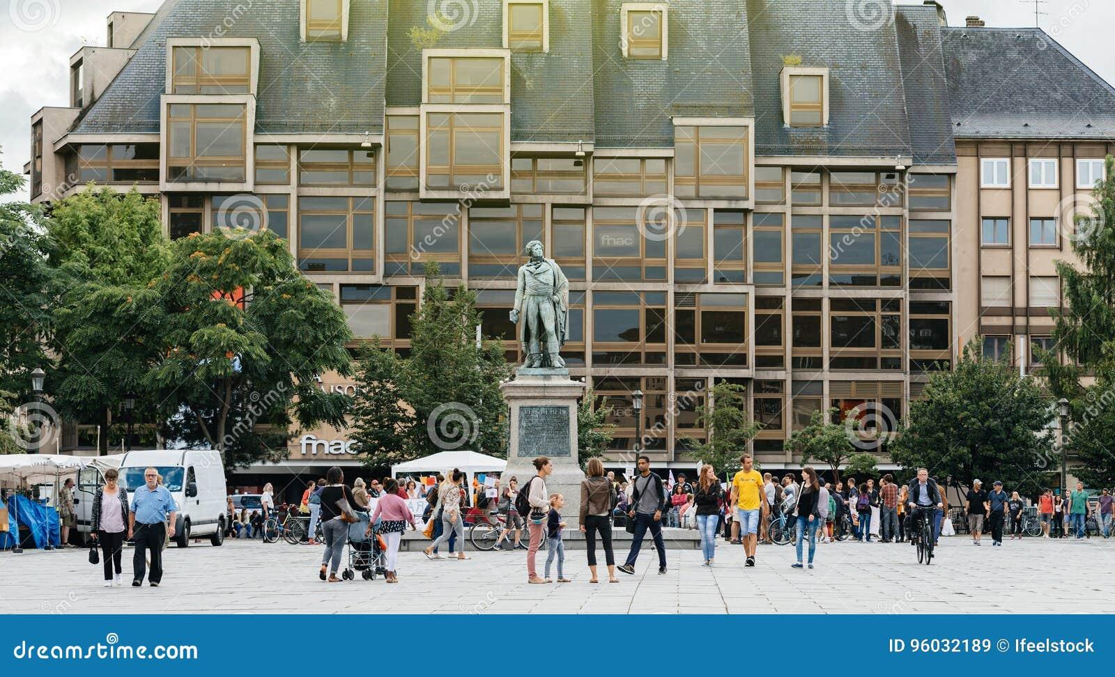 Miejsce Kleber z protestującymi w Francja