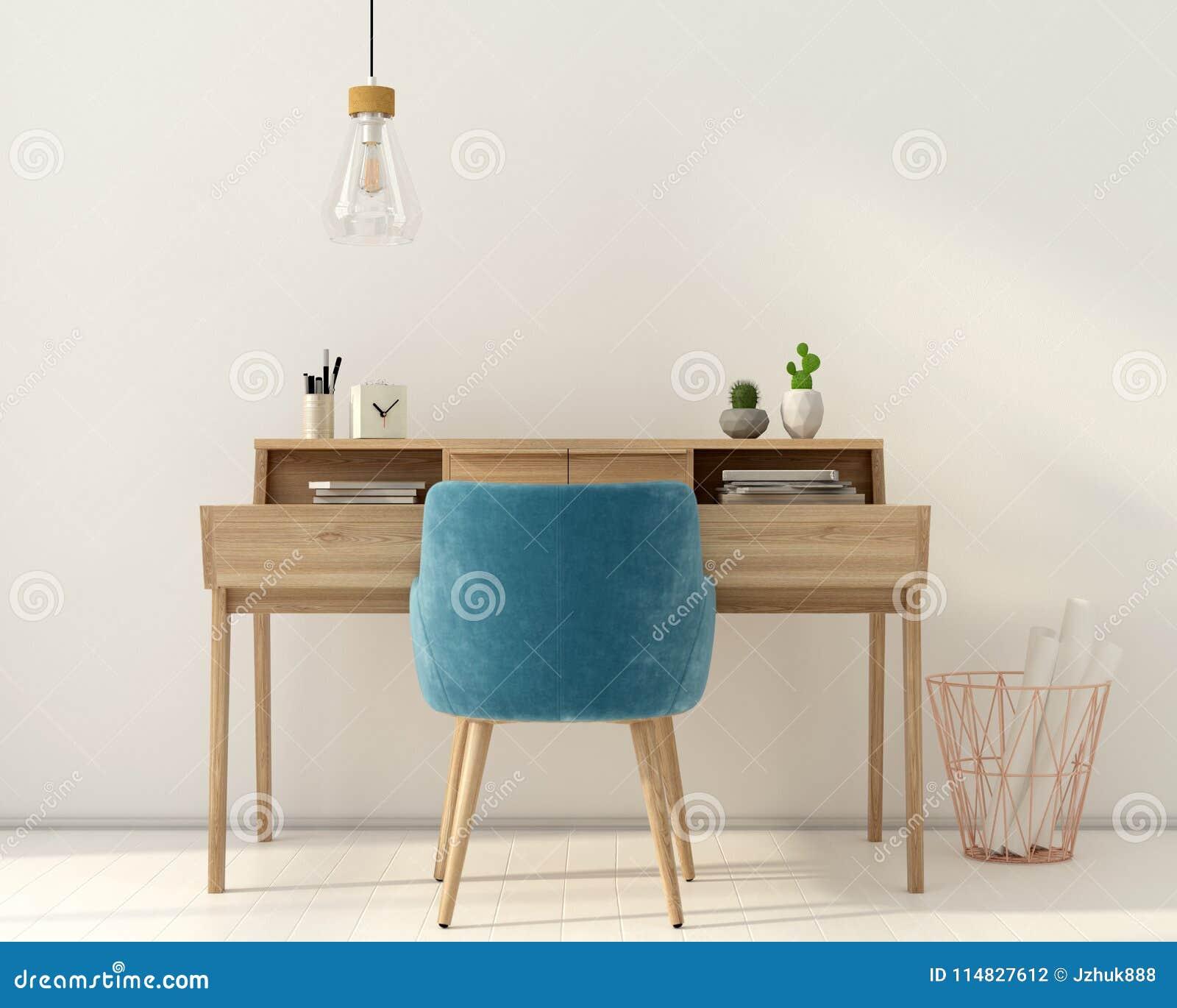 Miejsce pracy z różowym krzesłem