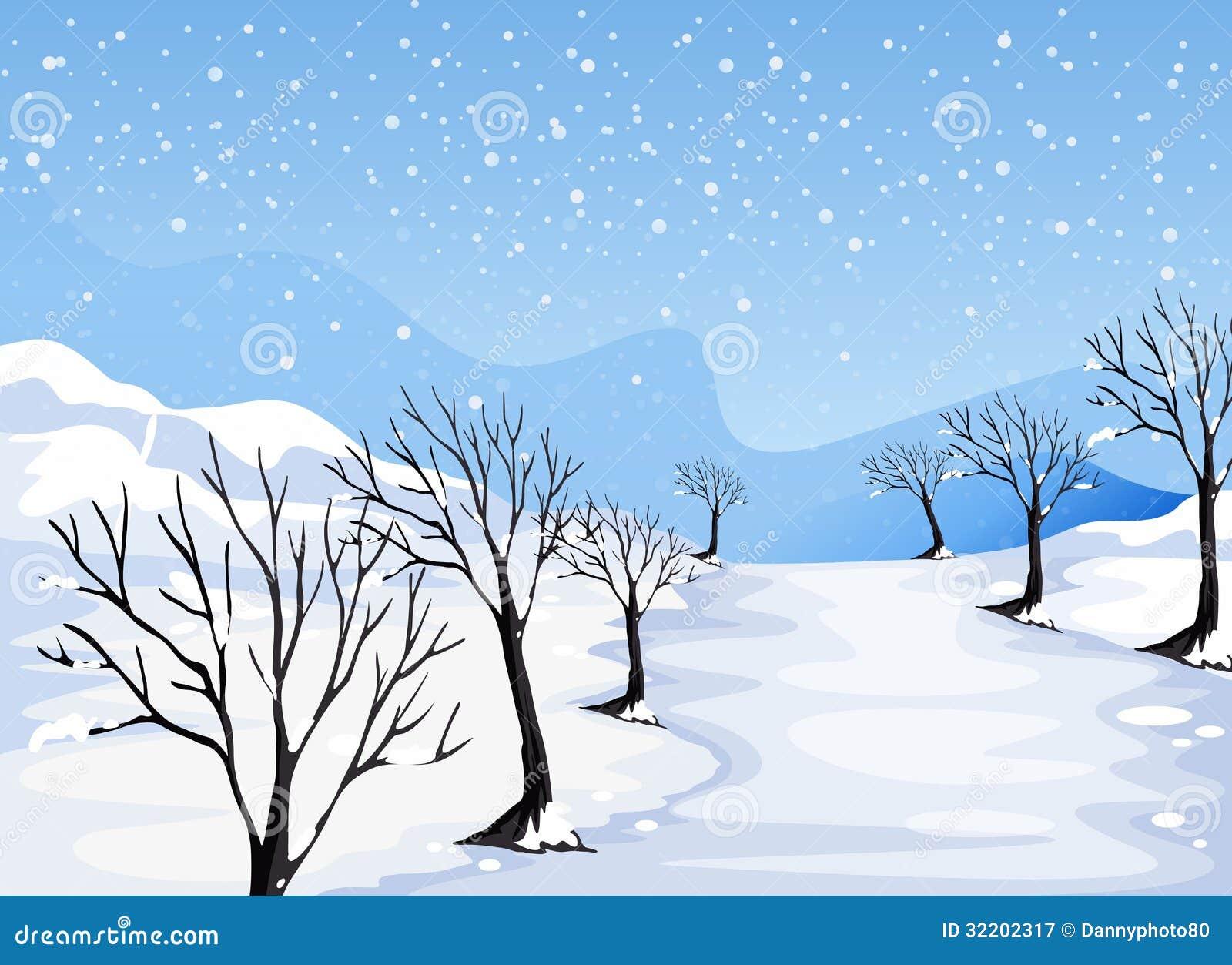 Miejsce zakrywający z śniegiem