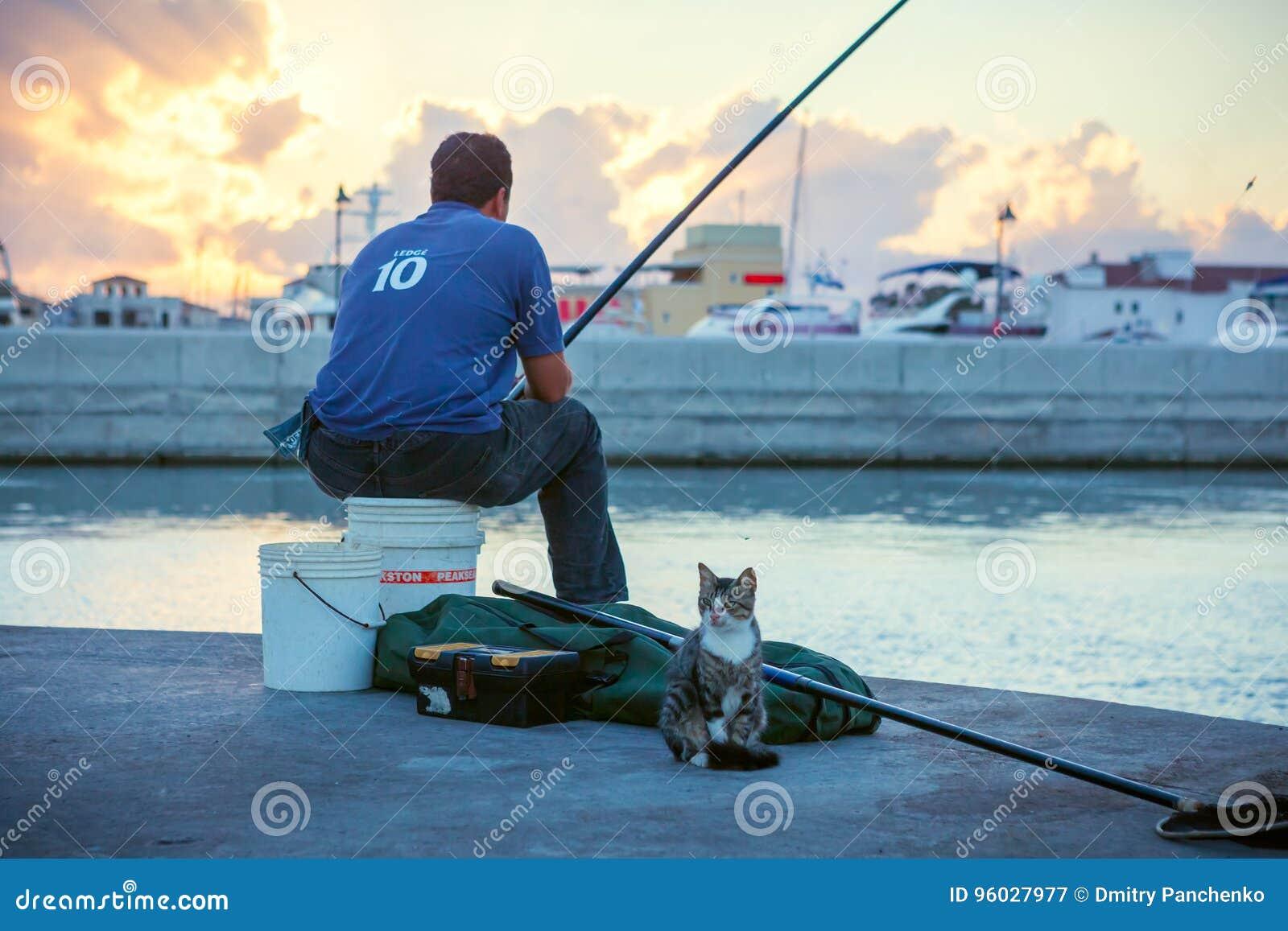 Miejscowy z kota połowem w Limassol Starym porcie przy zmierzchem