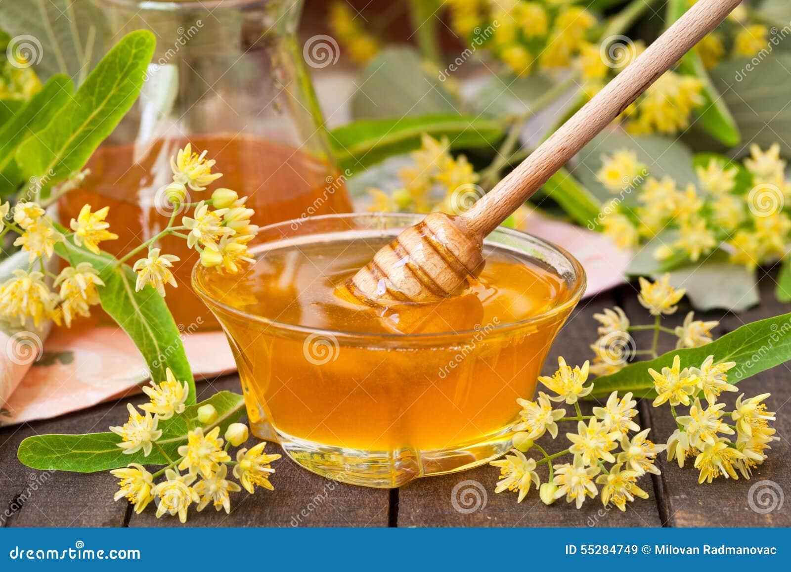 miel de tilleul avec des fleurs de tilleul photo stock image 55284749. Black Bedroom Furniture Sets. Home Design Ideas