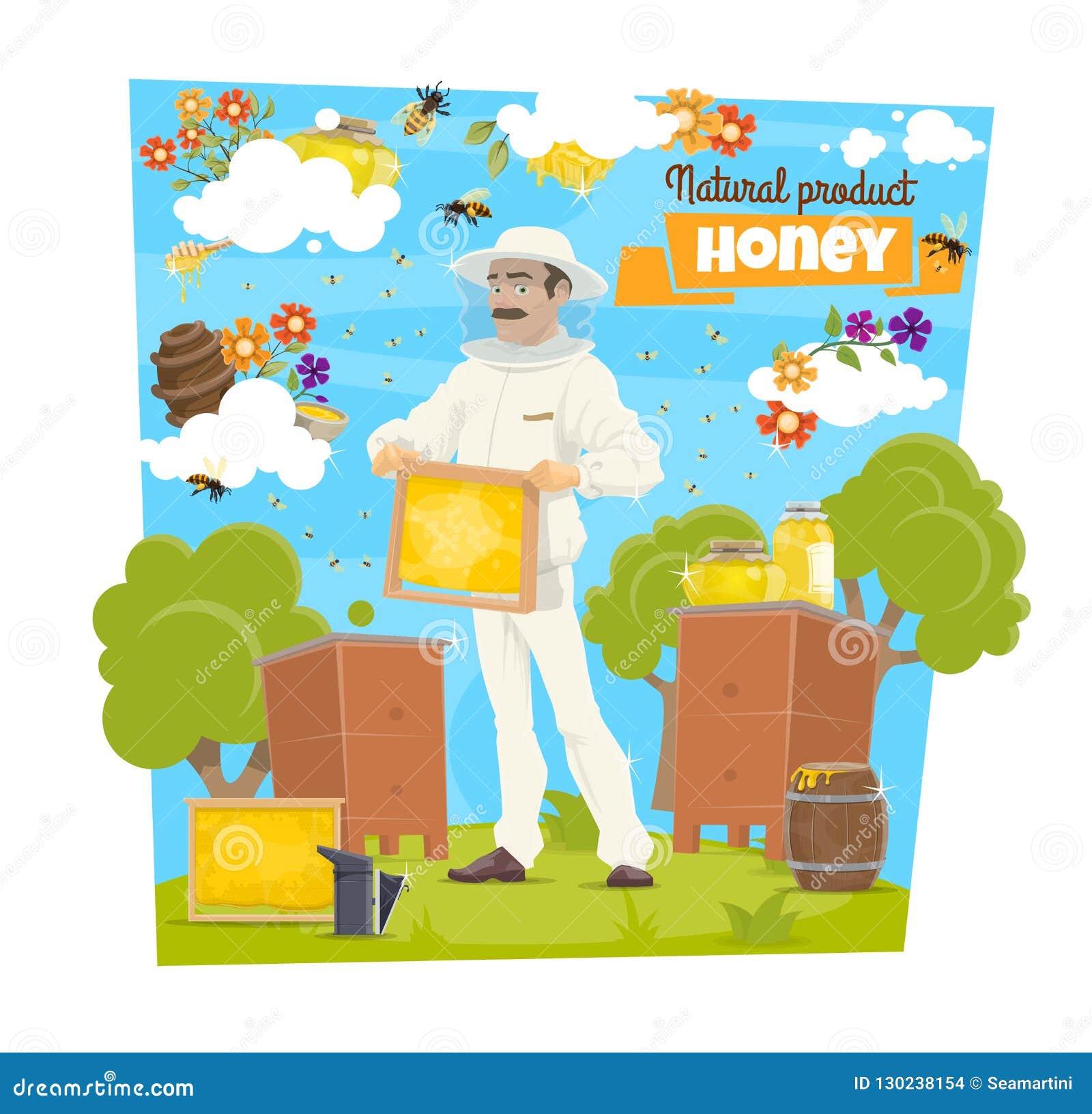 Miele, ape ed apicoltore sull arnia di apicoltura