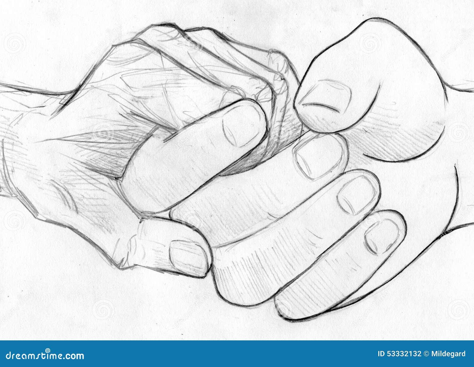 Mienie starszych osob ręka - ołówkowy nakreślenie