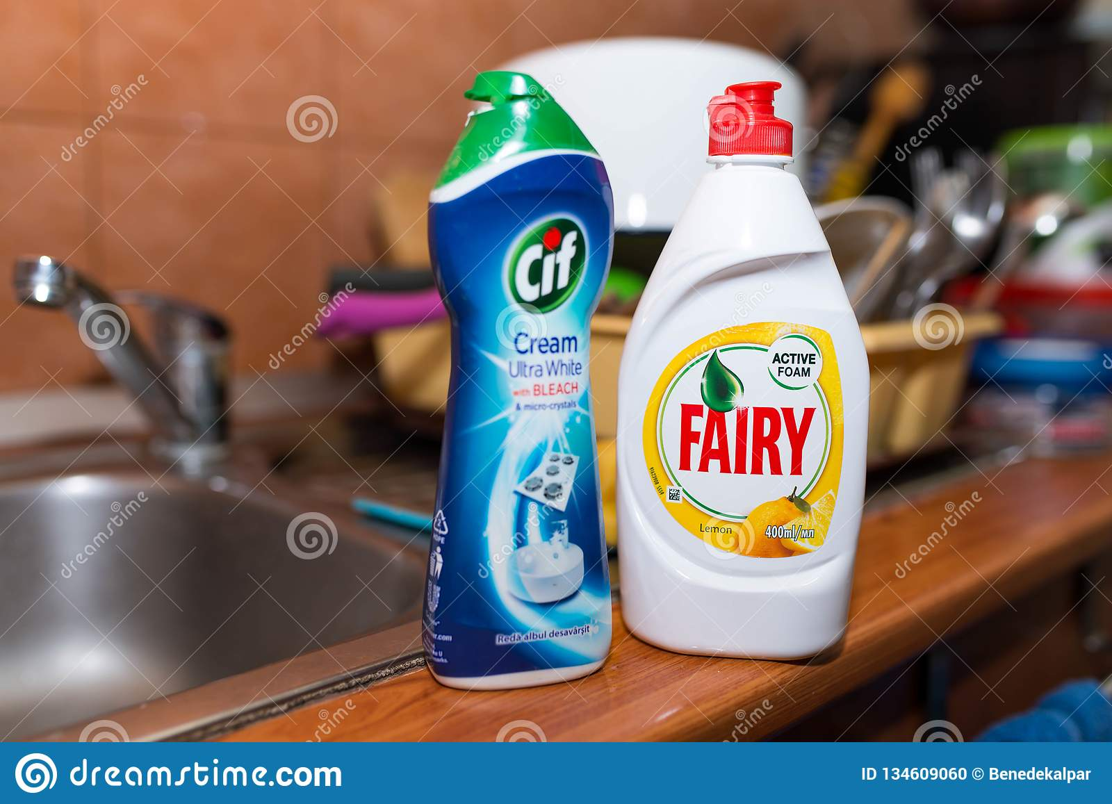 Fairy And Cif Cleaning Supplies On The Kitchen Sink ...