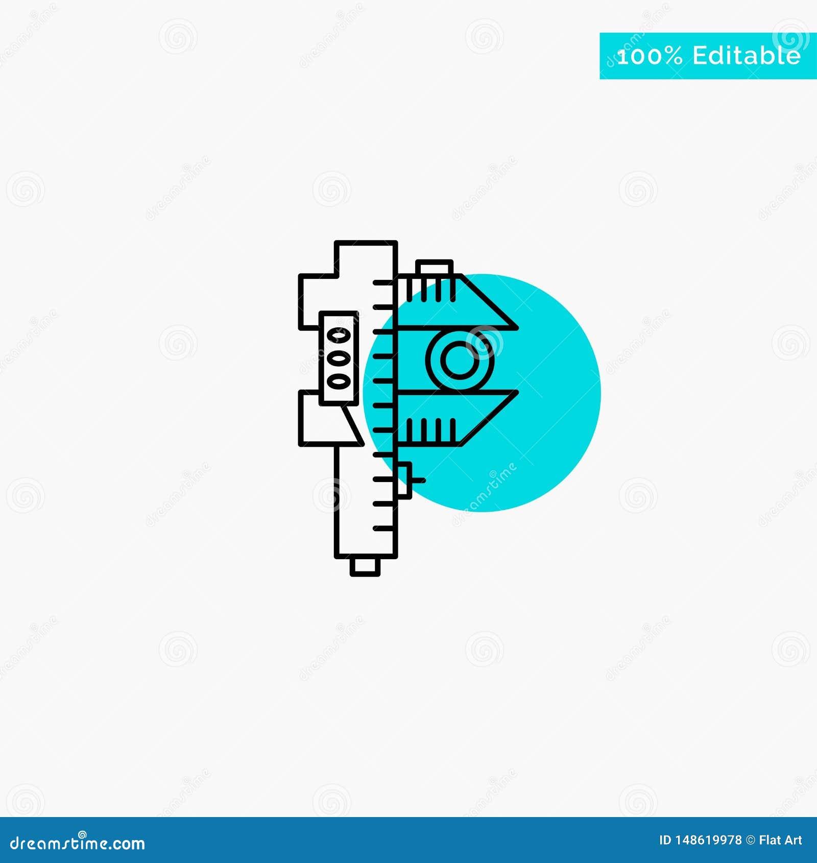 Mierzący, dokładność, miara, Mała, Malutka turkusowa główna atrakcja okręgu punktu wektoru ikona,