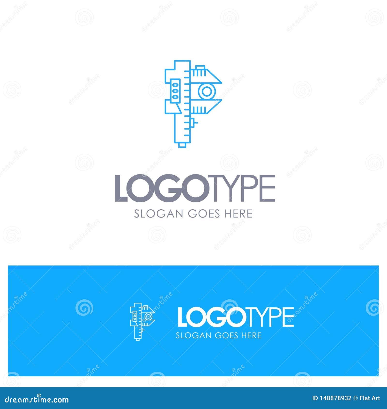 Mierzący, dokładność, miara, Mały, Malutki Błękitny konturu logo z miejscem dla tagline,