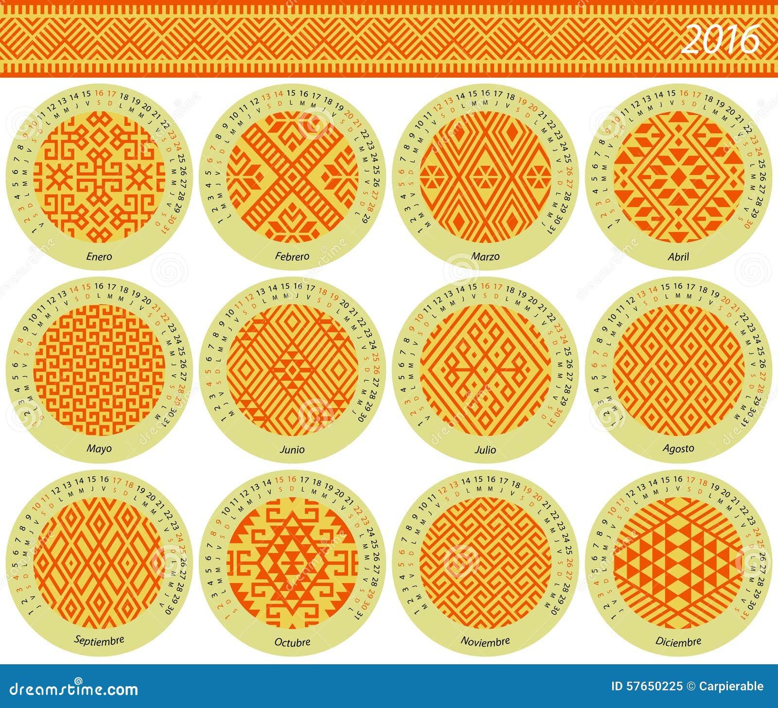 Miesięcznika kalendarz dla 2016