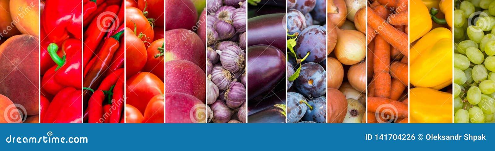 Mieszający kolorów owoc i warzywo Świeży dojrzały jedzenie