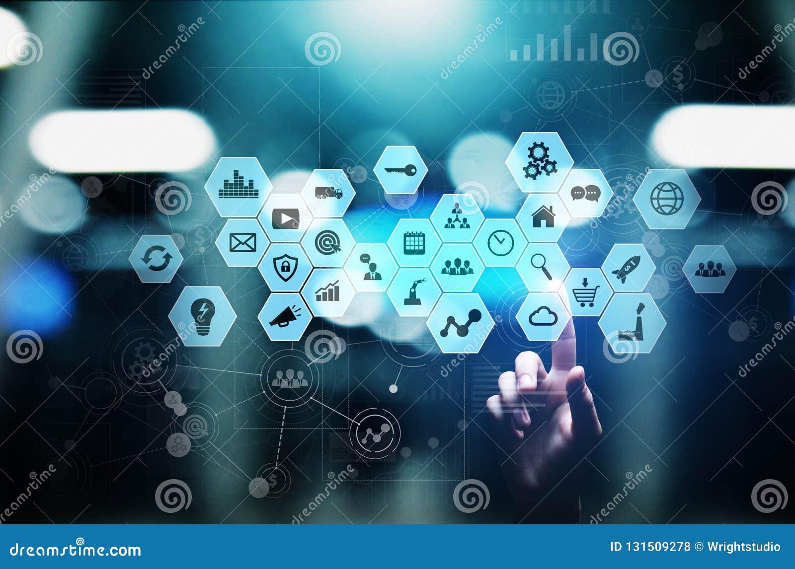 Mieszani środki, business intelligence ikony na wirtualnym ekranie, analiza i duzi dane, - przetwarzać deskę rozdzielczą pojęcia