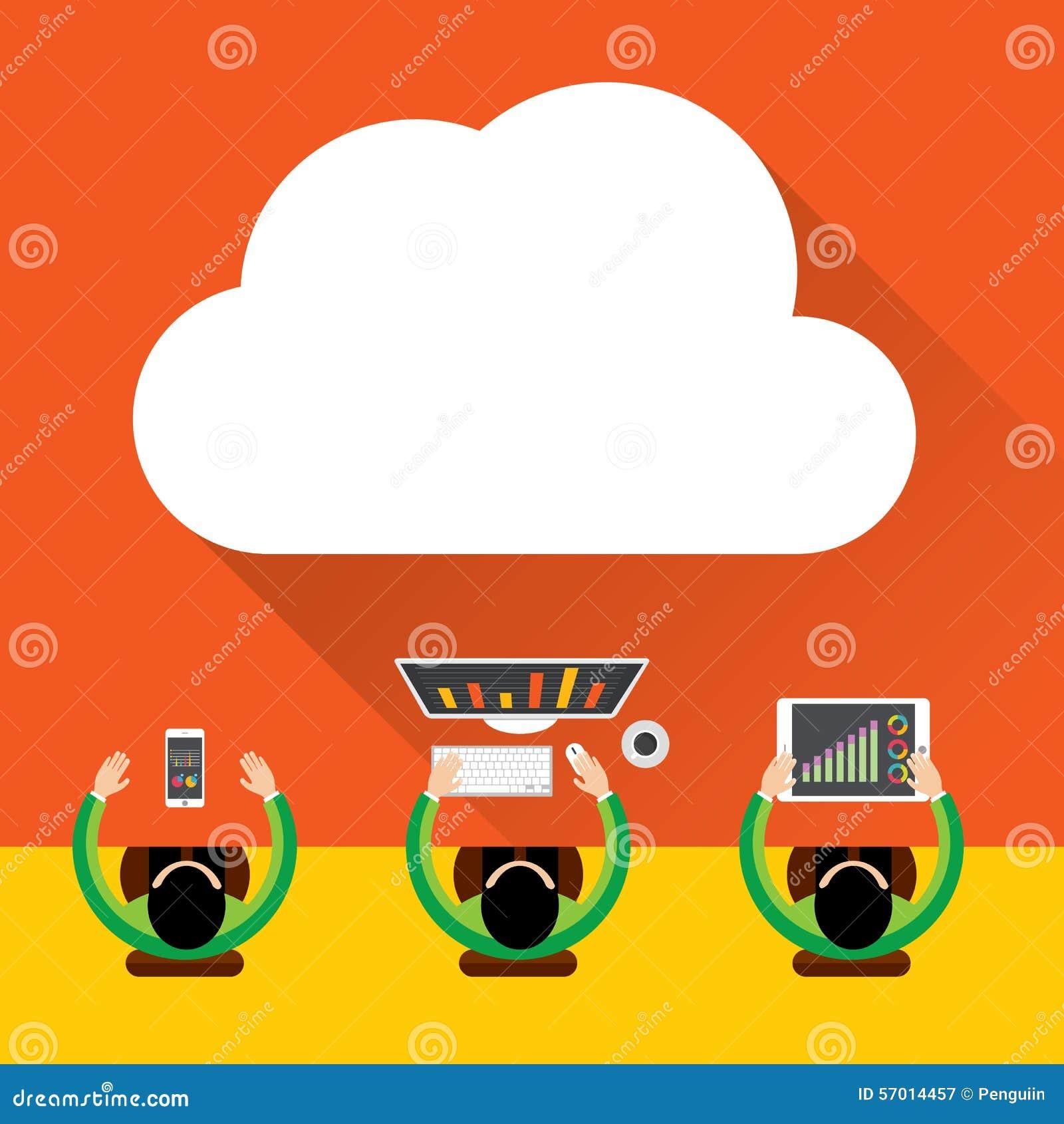 Mieszkania obłoczny oblicza tło Przechowywanie danych sieci technologia, Cyfrowego Marketingowy pojęcie, Multimedialna zawartość