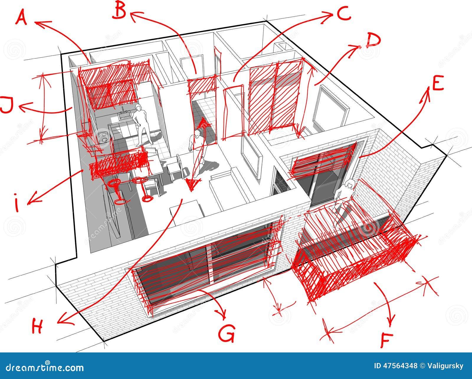 Mieszkanie diagram z ręki rysować architekta ` s notatkami