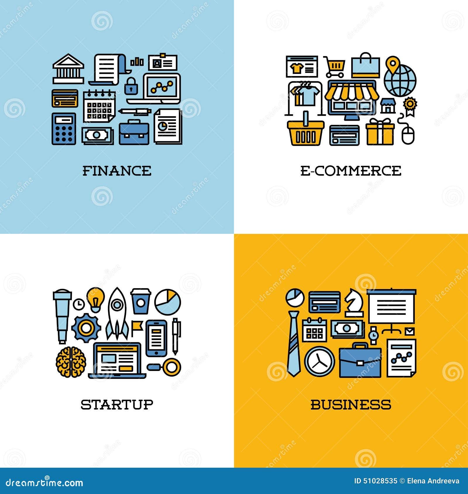 Mieszkanie kreskowe ikony ustawiać finanse, handel elektroniczny, rozpoczęcie, biznes