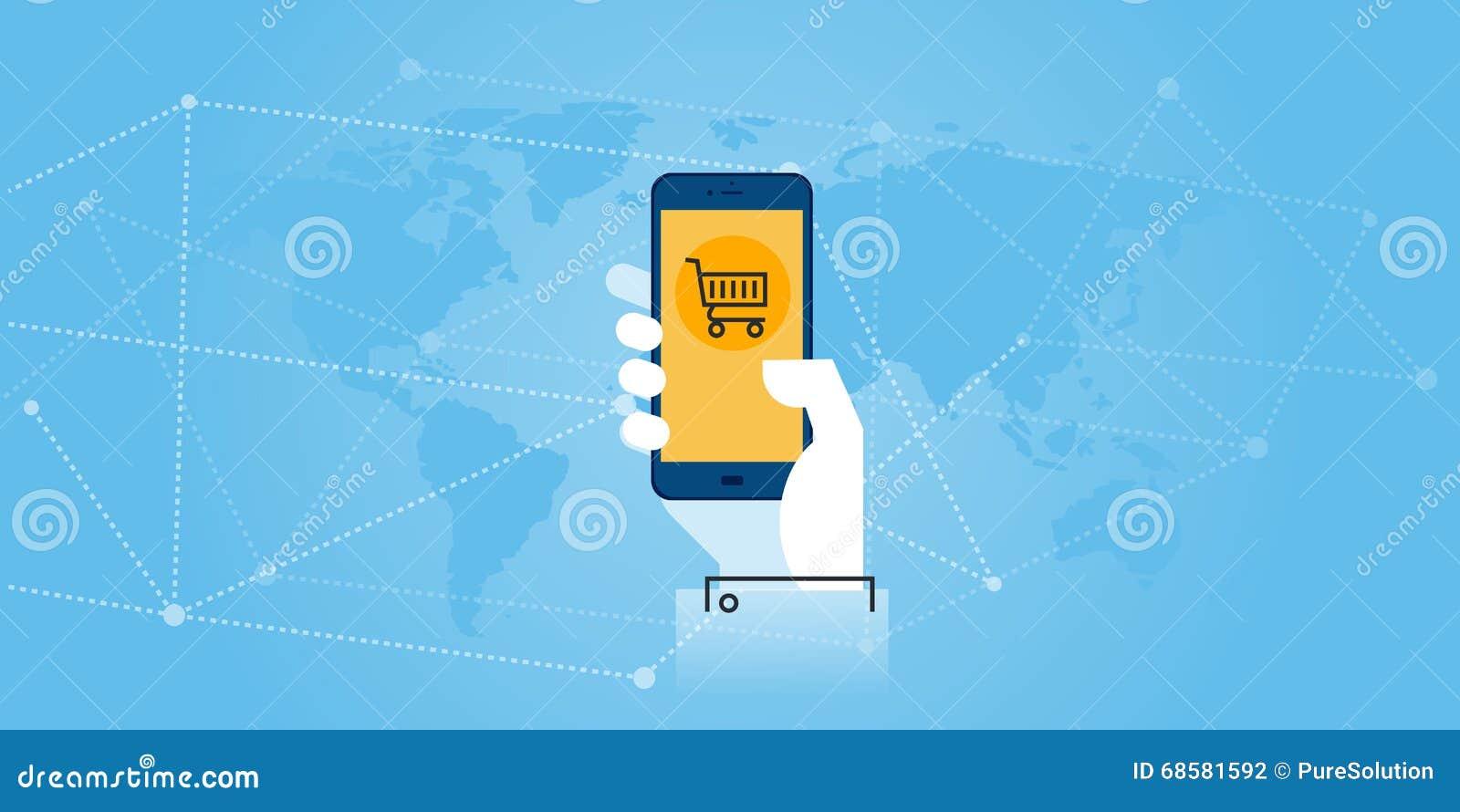 Mieszkanie linii projekta strony internetowej sztandar mobilny handel