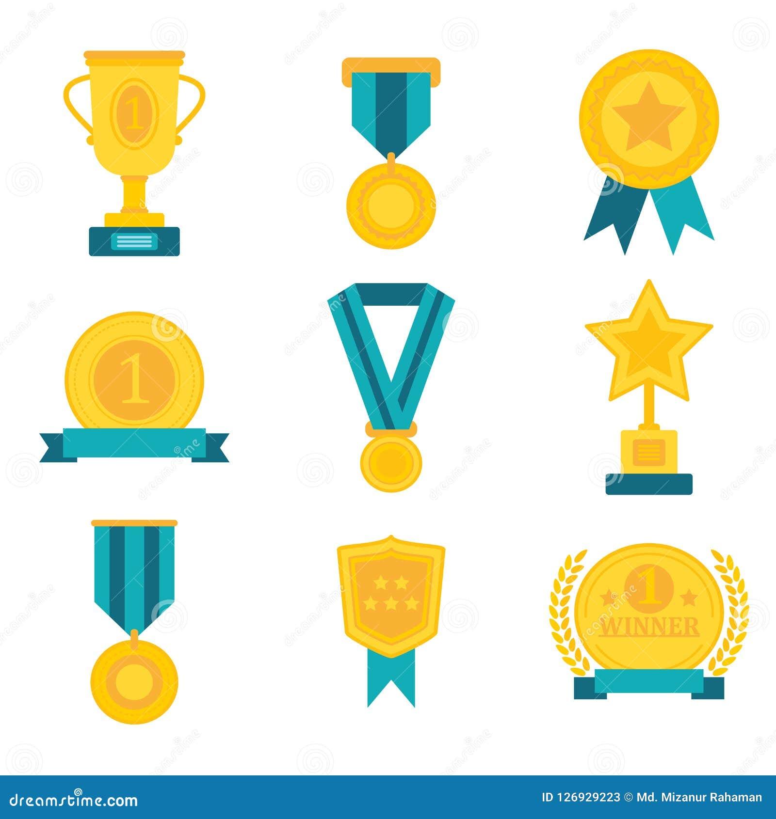 Mieszkanie nagradza medalu trofeum mistrza filiżanki odznaki zwycięzcy sukcesu ikony kolekcj wektoru ilustrację