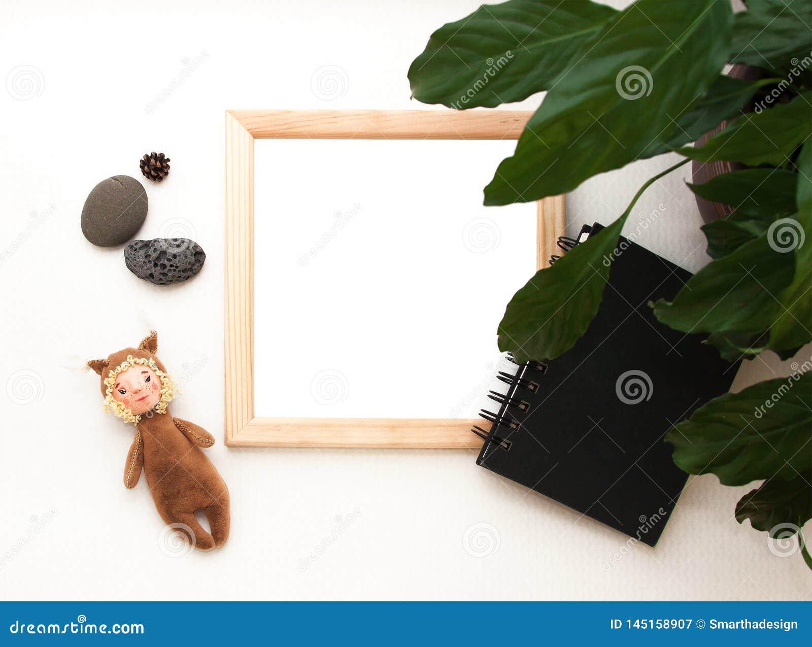 Mieszkanie nieatutowy egzamin próbny w górę, odgórny widok, drewniana rama, zabawkarska wiewiórka, roślina, nutowy ochrania