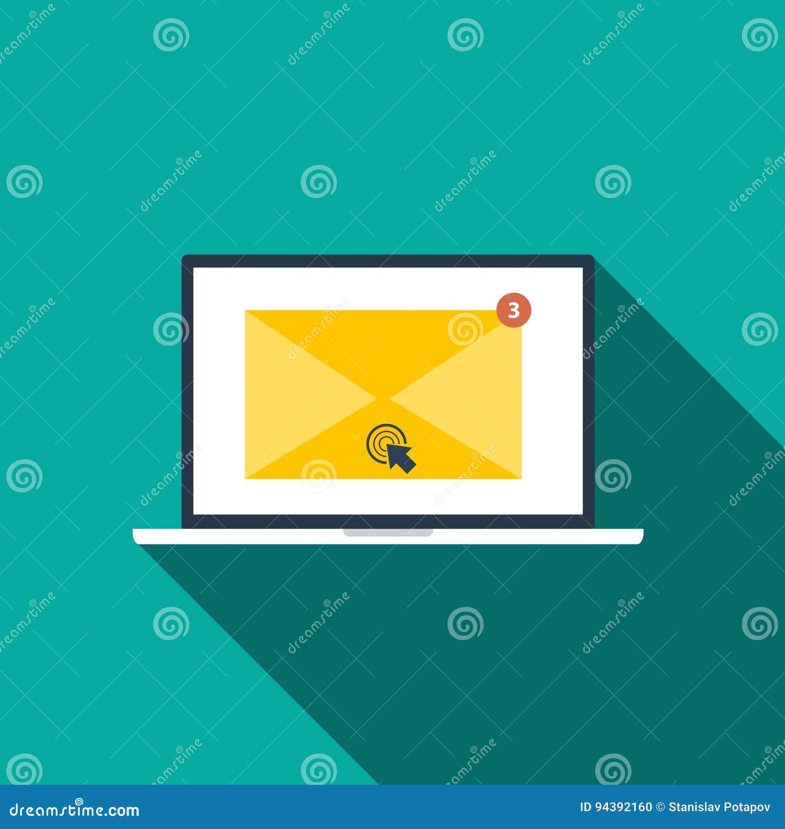 Mieszkanie stylowa ikona emaila Marketingowy pojęcie z długim cieniem