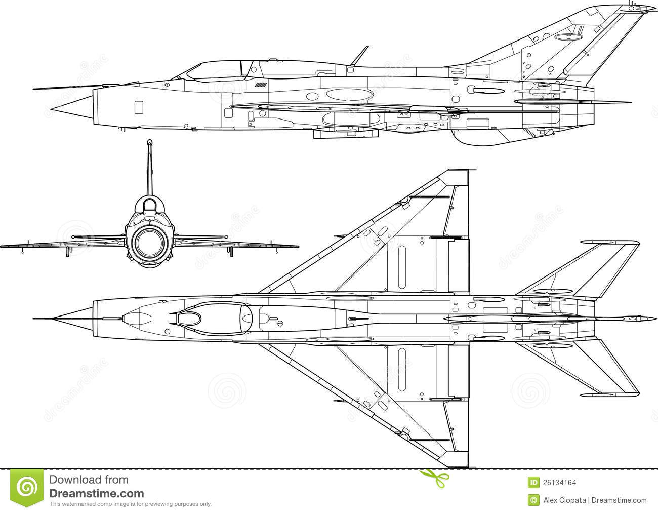High detailed vector illustration of a modern military airplane three ...