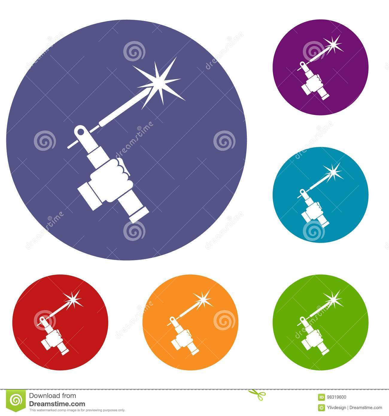 Mig Welding Torch In Hand Icons Set Stock Vector Illustration Of Diagram