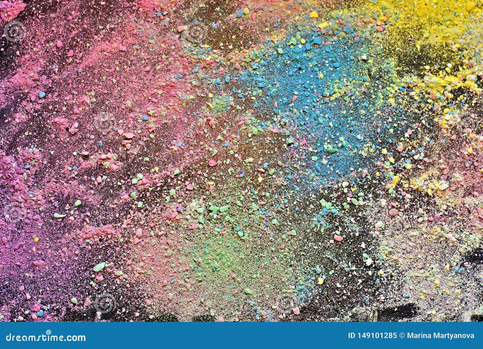 Migas del fondo colorido de la tiza