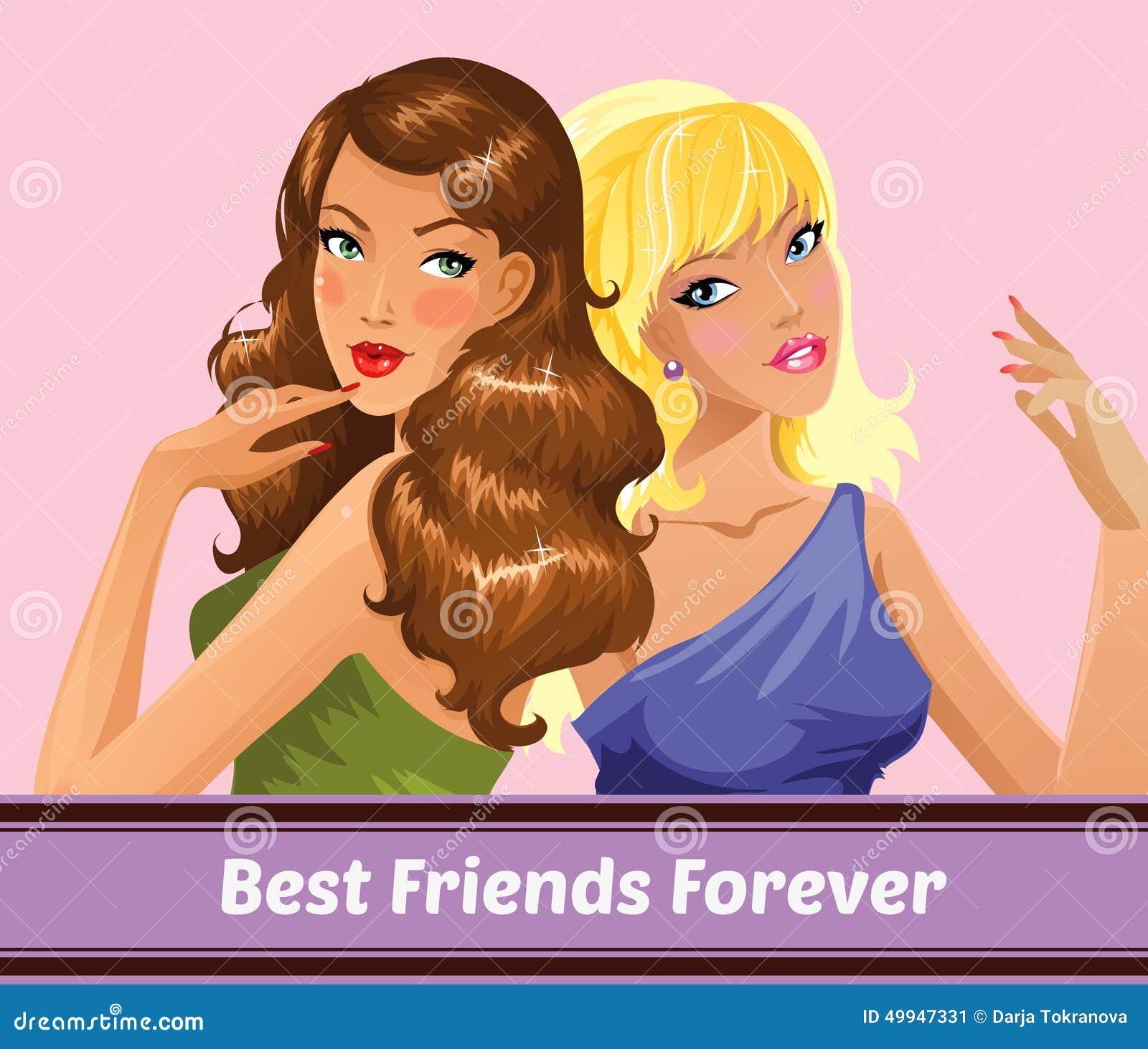 Migliori Amici Per Sempre Illustrazione Vettoriale - Immagine ... Best Friends Holding Hands Girls