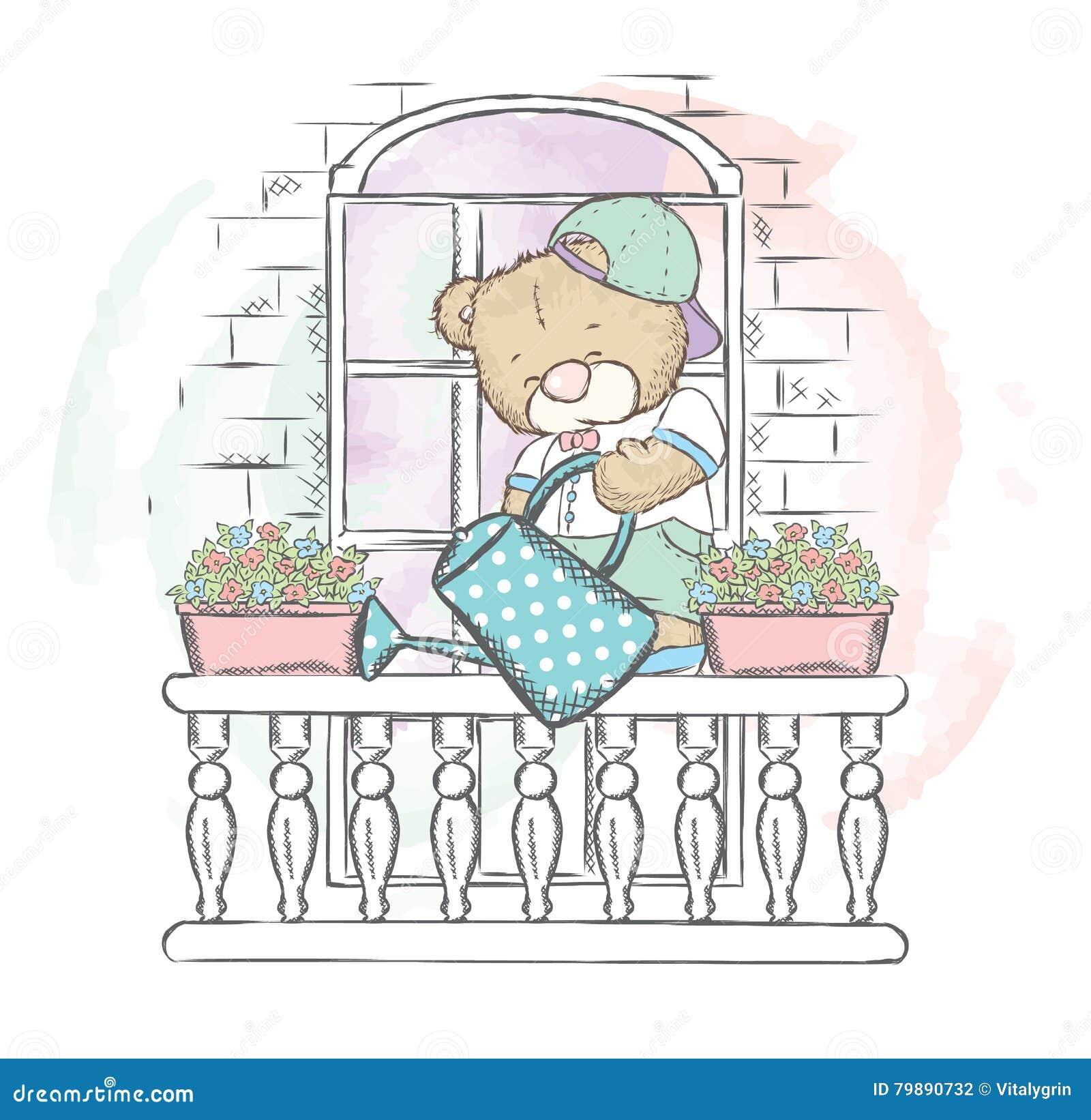 mignon concernez les fleurs de arrosage de balcon illustration de