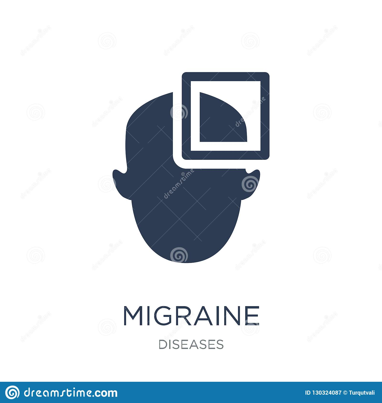 Migraine icon. Trendy flat vector Migraine icon on white background from Diseases collection