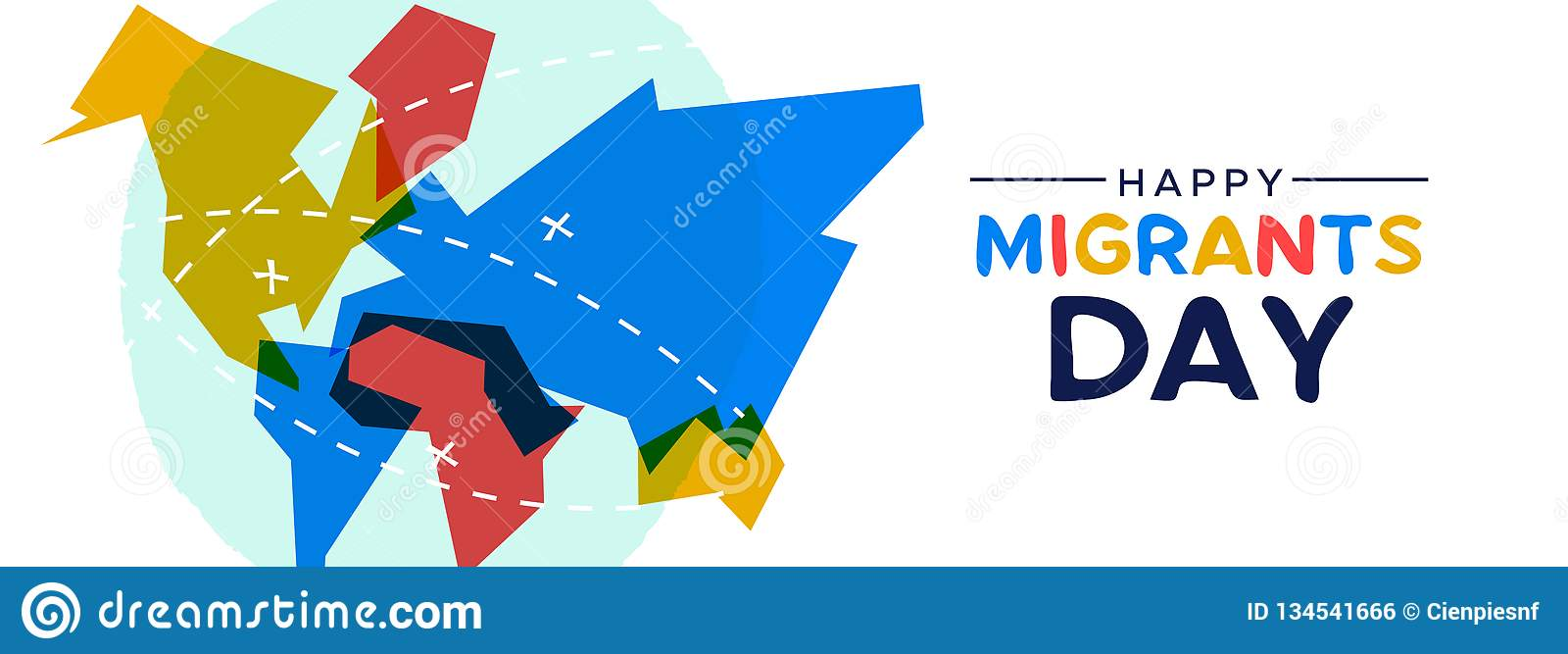 Migrant Day World Map Card For Immigration Concept Stock ... on